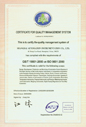 Certificate of Quality System Certification